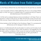 Word of Wisdom from Rabbi Langar in Honor of Passover